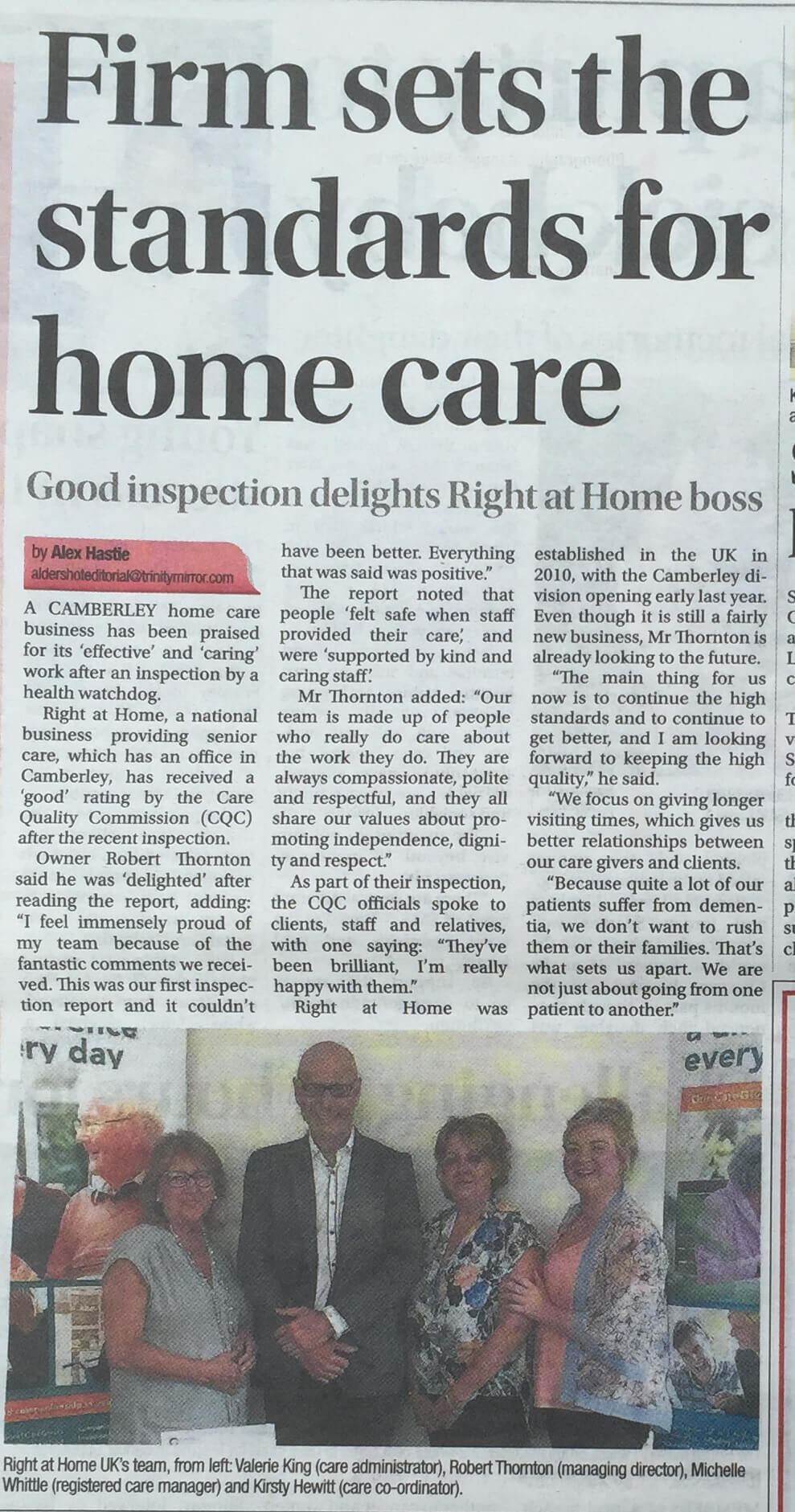 Firm sets the standards for home care